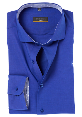 ETERNA Slim Fit Stretch overhemd, kobaltblauw (contrast)