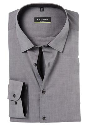 Eterna, Super Slim Fit Stretch overhemd, antraciet (zwart contrast)