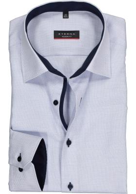 ETERNA modern fit overhemd, mouwlengte 7, structuur heren overhemd, lichtblauw met wit (donkerblauw contrast)
