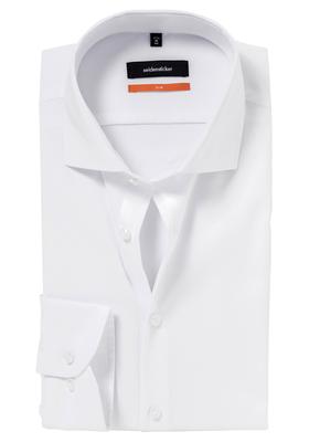 Seidensticker Slim overhemd, mouwlengte 7, wit