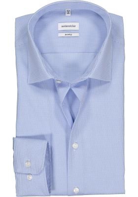 Seidensticker Shaped Fit overhemd, lichtblauw geruit