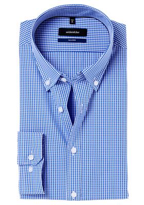 Seidensticker Tailored Fit overhemd, blauw geruit, button-down
