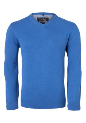MARVELIS heren trui katoen, V-hals, kobalt blauw