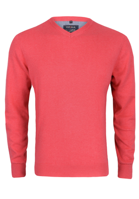 MARVELIS heren trui katoen, V-hals, koraal roze