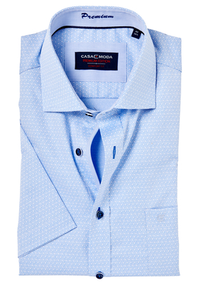 Casa Moda Comfort Fit, overhemd korte mouw, blauw dessin (contrast)