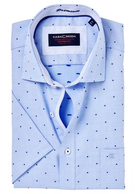Casa Moda Comfort Fit, overhemd korte mouw, blauw bijtjes dessin (contrast)