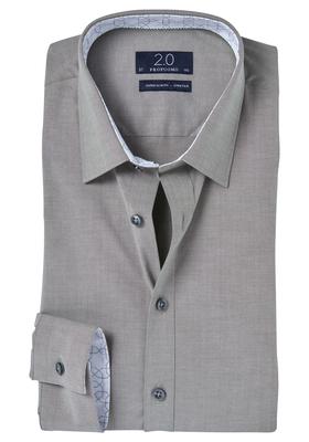 Profuomo 2.0, Super Slim Fit stretch overhemd, olijf groen/grijs
