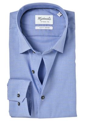 Michaelis Slim Fit overhemd, blauw structuur