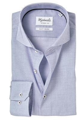Michaelis Slim Fit overhemd, blauw-wit dessin