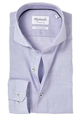 Michaelis Slim Fit overhemd, mouwlengte 7, wit-blauw dessin
