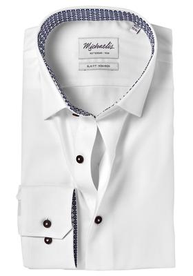 Michaelis Slim Fit overhemd, mouwlengte 7, wit (blauw contrast)