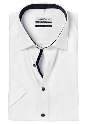 Overhemd Zwart Korte Mouw.Marvelis Comfort Fit Overhemd Korte Mouw Wit Zwart Gestipt