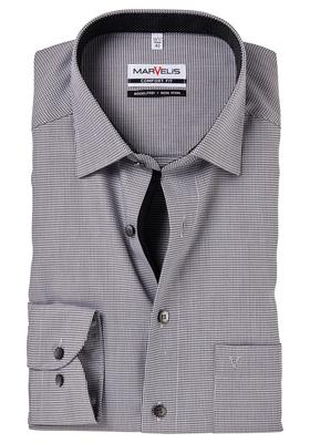MARVELIS Comfort Fit, overhemd, zwart structuur (zwart gestipt contrast)
