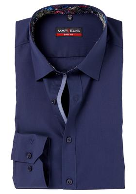 MARVELIS Body Fit overhemd, mouwlengte 7, blauw (contrast)