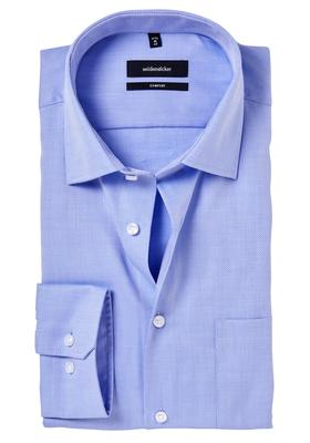 Seidensticker Comfort Fit overhemd, mouwlengte 7, blauw structuur