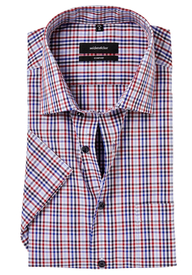 Seidensticker Comfort Fit overhemd, korte mouw, rood-wit-blauw geruit