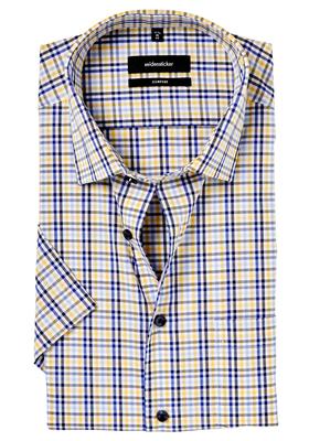 Seidensticker Comfort Fit overhemd, korte mouw, geel-wit-blauw geruit