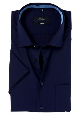 Seidensticker Comfort Fit overhemd, korte mouw, blauw (contrast)