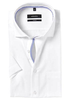 Seidensticker Comfort Fit overhemd, korte mouw, wit (blauw contrast)