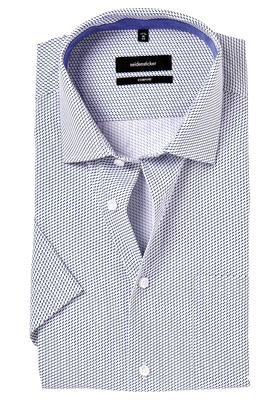 Seidensticker Comfort Fit overhemd, korte mouw, blauw dessin (contrast)