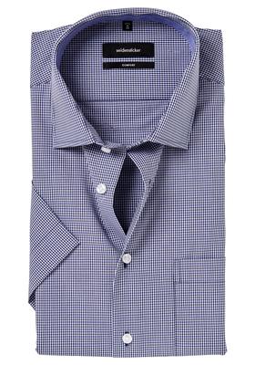 Seidensticker Comfort Fit overhemd, korte mouw, blauw geruit (contrast)
