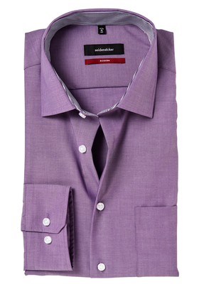 Seidensticker Modern Fit overhemd, mouwlengte 7,  lila (contrast)