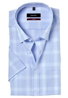 Seidensticker Modern Fit overhemd korte mouw, lichtblauw geruit