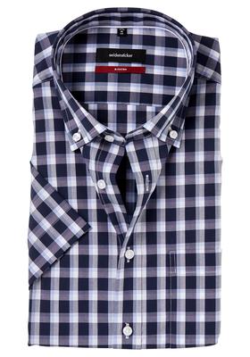 Seidensticker Modern Fit overhemd korte mouw, blauw geruit