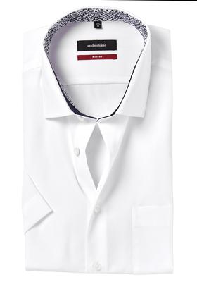 Seidensticker Modern Fit overhemd korte mouw, wit (contrast)