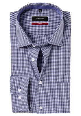 Seidensticker Modern Fit overhemd, blauw geruit (contrast)