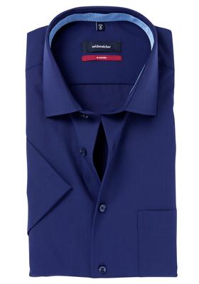 Seidensticker Modern Fit overhemd korte mouw,  blauw (contrast)