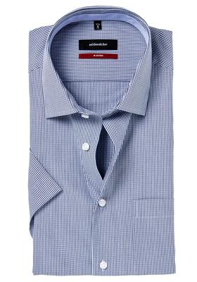 Seidensticker Modern Fit overhemd korte mouw,  blauw geruit (contrast)