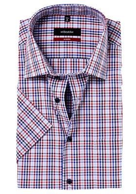 Seidensticker Modern Fit overhemd korte mouw,  blauw-rood geruit