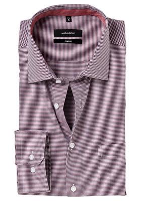 Seidensticker Comfort Fit overhemd, rood geruit (contrast)