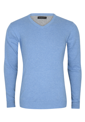 Michaelis Slim Fit v-hals trui katoen, licht blauw