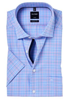 OLYMP Modern Fit, overhemd korte mouw, blauw-roze geruit
