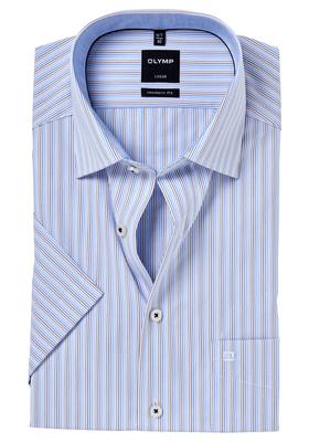 OLYMP Modern Fit, overhemd korte mouw, blauw-bruin gestreept (contrast)