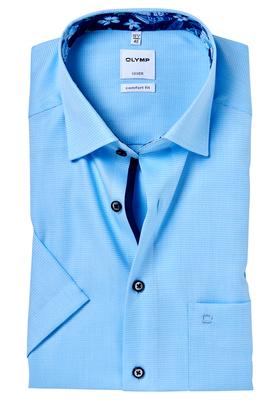 OLYMP Comfort Fit, overhemd korte mouw, aqua structuur (gebloemd contrast)