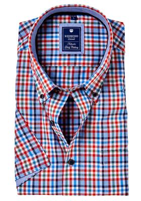 Redmond Regular Fit overhemd korte mouw, rood, groen, blauw geruit