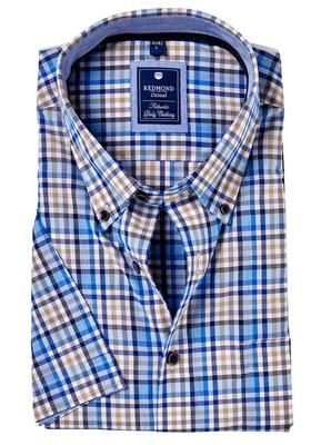 Redmond Regular Fit overhemd korte mouw, blauw, beige geruit
