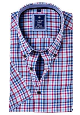 Redmond Regular Fit overhemd korte mouw, paars, blauw geruit