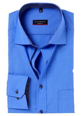 Eterna Modern Fit overhemd, blauw fil à fil (contrast)