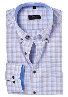ETERNA Comfort Fit overhemd, blauw-bruin geruit (contrast)
