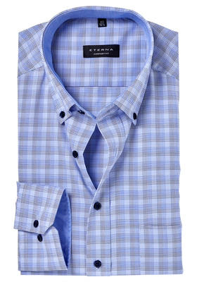 ETERNA Comfort Fit overhemd, blauw-beige geruit (contrast)