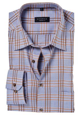 ETERNA Comfort Fit overhemd, blauw-wit-bruin geruit