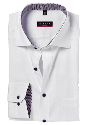 Eterna Modern Fit overhemd, wit (rood-blauw contrast)
