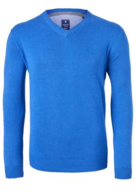 Redmond heren trui katoen, V-hals, kobaltblauw