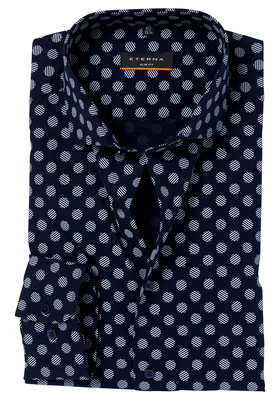 ETERNA Slim Fit Stretch overhemd, blauw gestipt dessin