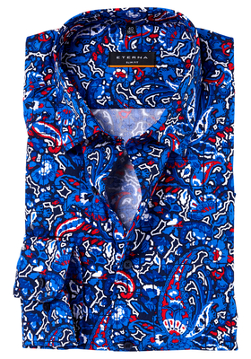 ETERNA Slim Fit Stretch overhemd, blauw-rood dessin