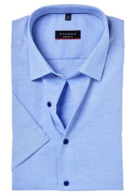 Eterna Modern Fit overhemd, korte mouw, blauw structuur